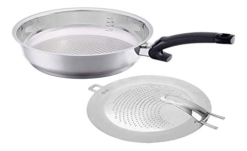 Fissler crispy steelux comfort Frying-Pan with Splatter Screen Uncoated Stainless Steel Induction, 12-Inch