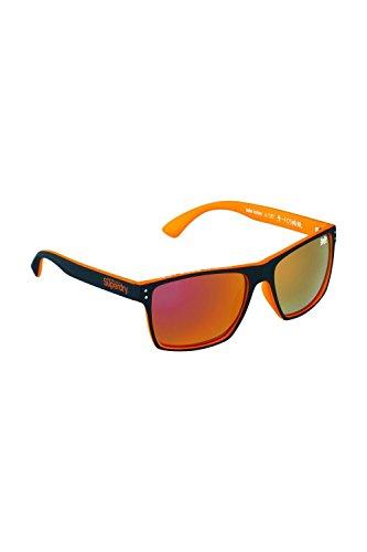 Superdry Sonnenbrille Kobe 2 127 - Schwarz Orange Sonnenbrille aus Kunststoff mit orangen verspiegelten Glässern - Herrenmodell - 100% UVA & UVB Schutz