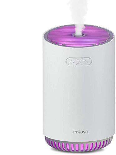 Mini USB Auto Humidifier, 320ml, 7-farbige LED Diffuser Aromatherapie, 2 Spritzmethoden, BPA-Free Auto Luftbefeuchter Ultraschall für Yoga Salon Spa Wohn-, Schlaf-, Bade-Weiß