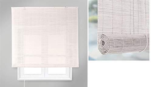 TIENDA EURASIA Estores - Persiana de Bambú Interior, Ventanas y Puertas (Blanco, 80 x 160 cm)