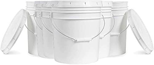 5 Gallon White Bucket & Lid - Set of 6 - Durable 90 Mil All Purpose Pail - Food Grade - Contains No BPA Plastic (5 Gal. w Lids - 6pk)