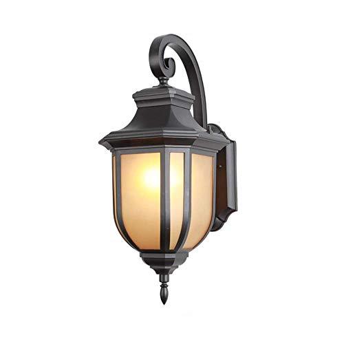 LEIKAS Lámpara Pared Negra Minimalista Americana para Exteriores, lámpara Pared Impermeable para jardín al Aire Libre, Aplique Pared Aluminio, iluminación Pared para balcón, Base E27, lámpara Pare