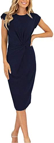 Adibosy Women s Work Business Dress Retro Pleated Vintage Short Sleeve Slim Cocktail Party Pencil product image