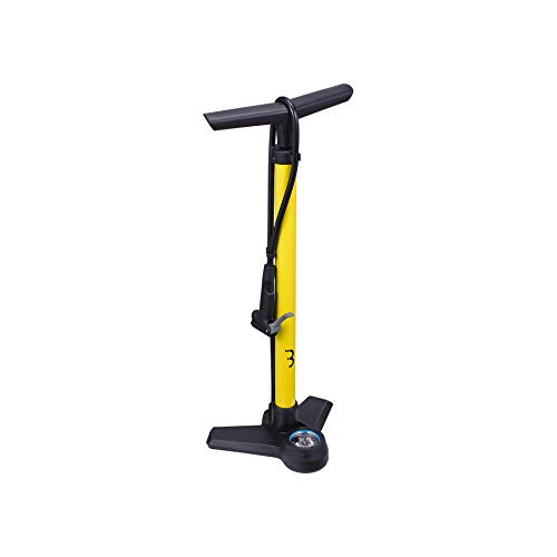 Bbb Cycling Bike Floor Pump with Display Bar/PSI High Pressure Foot Tyres Inflator One Size AirBoost BFP-21, Yellow/Black, 62 cm