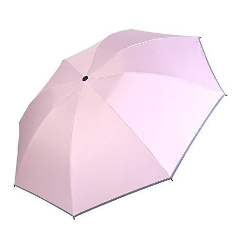 FJROnline Paraguas invertido anti UV, paraguas grande resistente al viento, paraguas de viaje con tira reflectante – cierre automático Rosa rosa 32*5CM