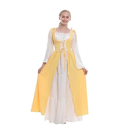 B/H Mittelalter Kleidung Damen Renaissance,Tunika-Kleid mit quadratischem Hals, mittelalterliches Kleid-gelb_M,Damen Halloween Mittelalterliche Kostüm Retro