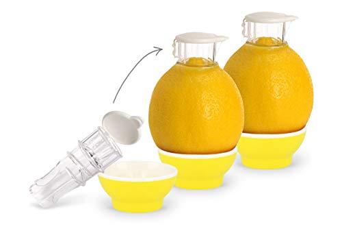 Patent-Safti 3 x Gelb Entsafter I Der Originale Safti Ausgießer für Zitronen, Orangen etc. I Einfacher als Jede Zitronenpresse oder Saftpresse I 3 x Gelb
