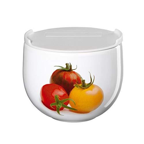 ASA Vorratsdose weiß, mit Tomaten Motiv, aus Porzellan und PE hergestellt, Durchmesser: 9,5cm, 41914147
