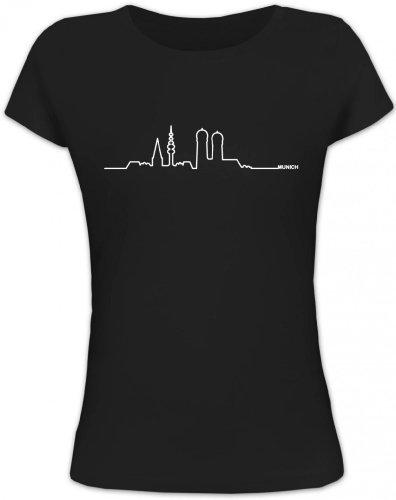 Shirtstreet24, Skyline Munich, München Oktoberfest Wiesn Lady/Girlie T-Shirt Fun Shirt Funshirt, Größe: S,schwarz