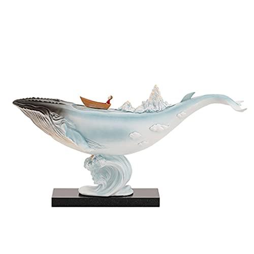 Estatua de decoración Estatua de Ballena de Resina Moda Animal Escultura de Arte, estantería de TV de estantería Estatua Hecha a Mano, decoración para Oficina en casa Azul/Blanco Estatu