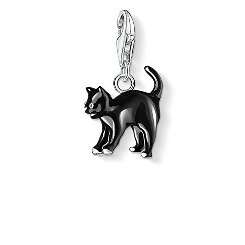Thomas Sabo Damen-Charm-Anhänger Katze Charm Club 925 Sterling Silber schwarz 0701-007-11