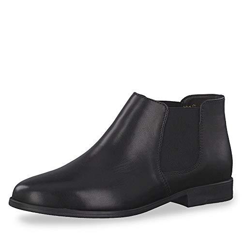 Tamaris Damen Stiefeletten 25032-23, Frauen Chelsea Boots, flach Damen Frauen weibliche Lady Ladies feminin elegant Women's,Black,41 EU / 7.5 UK