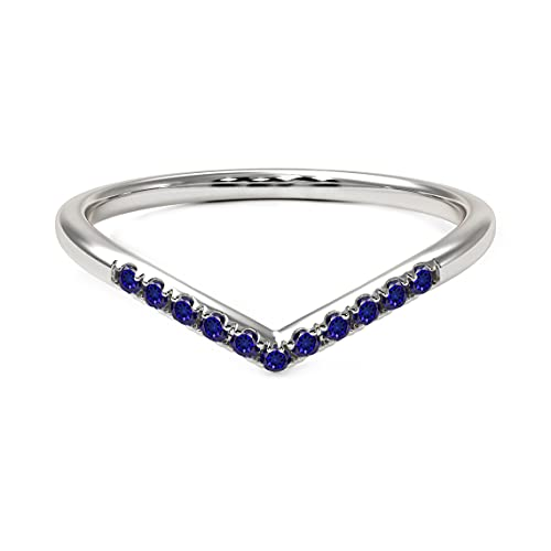 SURYAGEMS September Created Blue Sapphire Gemstone V Shape Stacking Chakra Healing Promise Daily Wear Rings 925 Sterling Silver Ring Birthstone Jewelry for Women Girls Girlfriend in Size:J