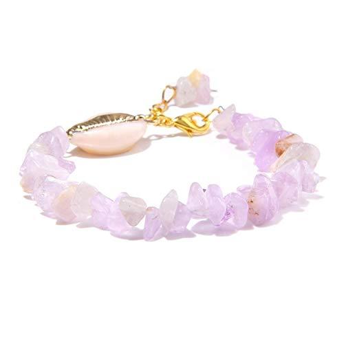 HOULAI Pulsera de cuentas de piedra de amatista natural simple para mujer, cuarzo morado, piedra de cristal de concha, pulseras de cadena para damas