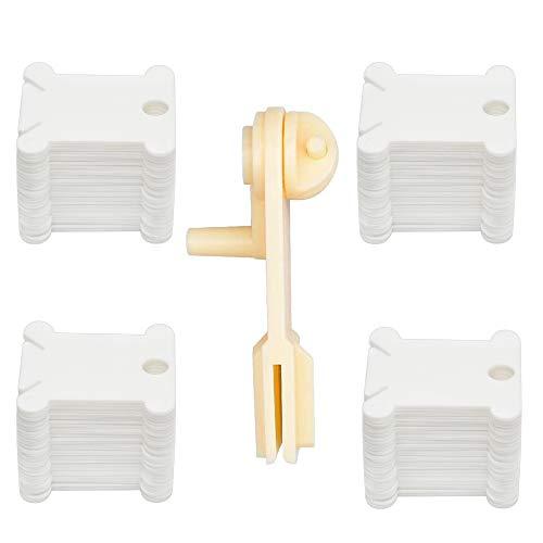 ALUYF 120 Stück Stickgarn Spulen Kunststoffspulen Stickgarn Karte Wickelplatte (Weiß) mit 1 Stück Schnellwickelmaschine Handbuch Garnwickler für Kreuzstich basteln DIY Stickerei Nähen