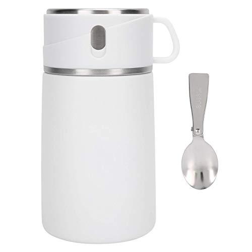 zhoul - Tarro para Comida Caliente de Acero Inoxidable 316, Fiambrera aislada portátil de 800 ml, Recipiente para Sopa de Comida al vacío, Recipiente para gachas (Blanco)