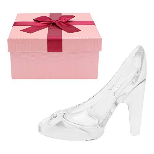 Happyyami Cenicienta Zapatilla de Cristal Zapato de Cristal Estatuilla Adornos Cristal Día de San Valentín Cumpleaños Regalo de Graduación para Mujeres Niñas Blanco