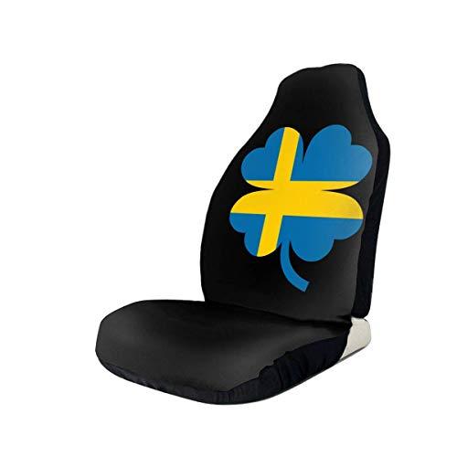 Little Yi Schwedische Flagge Vierblättriges Kleeblatt Autositzbezug Universal Fit Die meisten Autos