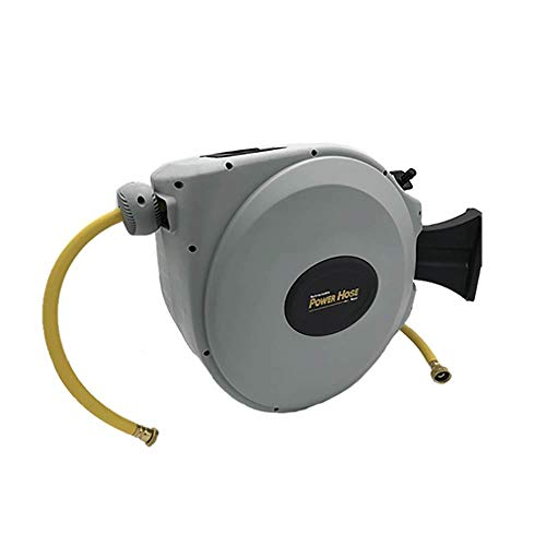 "Power Retractable Hose Reel 5/8"" x 50 ft, Super Heavy Duty, 500 PSI Burst Strength, 3 Layer Hybrid Hose"