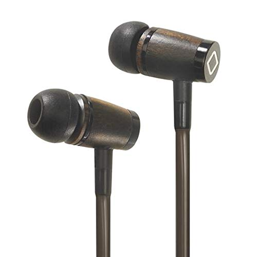 Aircom A6 Anti-Strahlung Stereo Kopfhörer - Revolutionärer EMF-Schutz Wired Earbuds with Airflow Audio Technology - Holz Kopfhörer mit integriertem Mikrofon - Holz