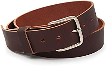 Journeyman Leather Belt | Made in USA | Brown w/ Silver Buckle | Size 36