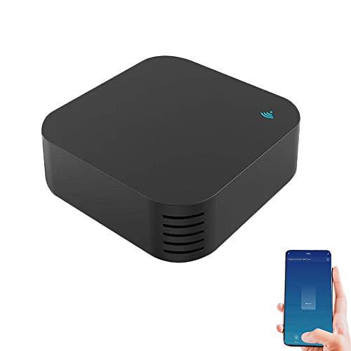 WIFI IR Remote Control Hub Smart Home Universal IR Blaster Repeater Hub con sensor de temperatura y humedad Control remoto inalámbrico a través de Smart Life/Tuya APP Compatible con Alexa Google Home