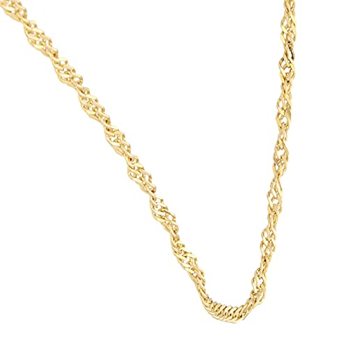 Jollys Jewellers Collar de oro amarillo de 14 quilates para mujer, cadena trenzada de 40,6 cm (2 mm de ancho)