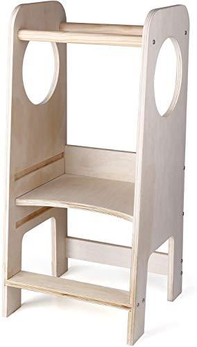 CRZDEAL LL-PT | Torre de Aprendizaje en Madera Natural | Diseñado por Educadores Expertos | Torre de Aprendizaje con Estantes Ajustables y Bordes Redondeados