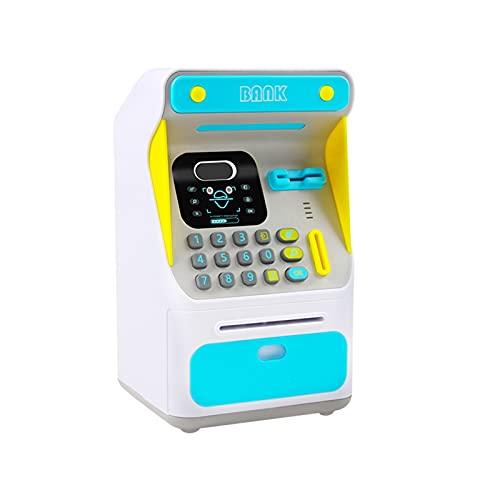 JSJJAHN Hucha Caja de cajero automático de reconocimiento agridulce de reconocimiento de Cara de Hucha electrónica sin Electricidad Billetes de Papel de Desplazamiento automático (Color : Blue)