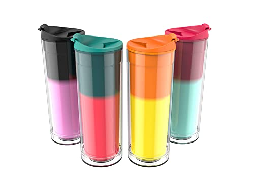 Hot Drink Cups Color Changing - 16oz Set of 4 Double Wall Tea Coffee Mug |...