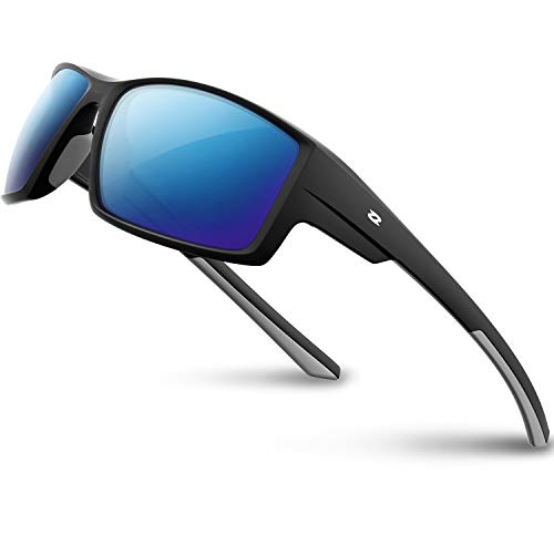 RIVBOS Polarized Sports Sunglasses Driving Glasses Shades for Men TR90 Unbreakable Frame for Cycling Baseball RB831 (RB861-Black,Blue Iced Lens)