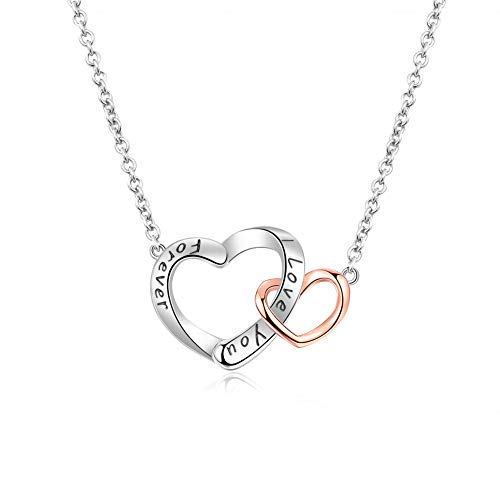 BDD CO. 'Love You Forever Women Double Heart Necklaces, 925 Sterling Silver Necklace for Girls, White & Rose Gold Plated, Necklaces Adjustable