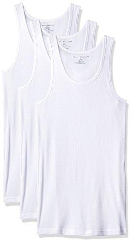 Tommy Hilfiger Men's Undershirts 3 Pack Cotton Classics A Shirt, White, Large