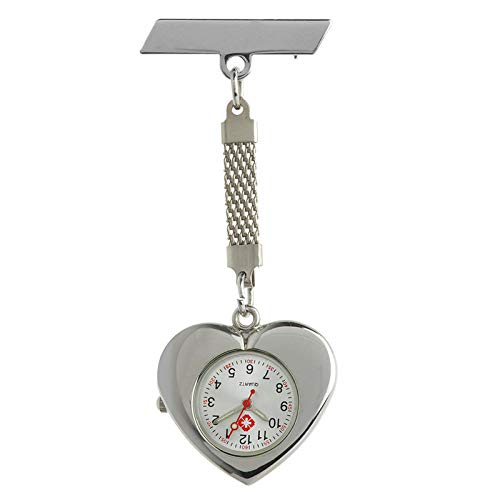 Cxypeng Damen Schwesternuhr,Medizinische leuchtende Legierung Taschenuhr Brust herzförmige Krankenschwestertisch hängen Uhr,Pulsuhr Kitteluhr Pflegeuhr