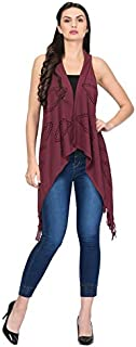 Trendif Women's Wine Faux Moss Laser Cut Shrug (3441)