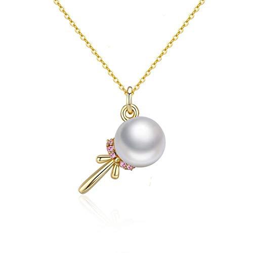 FyaWTM Collar Joyas Colgante For Collares Pendientes con Forma de piruleta de Perlas para Mujer Glod Color Collar de Plata esterlina Regalo de joyería