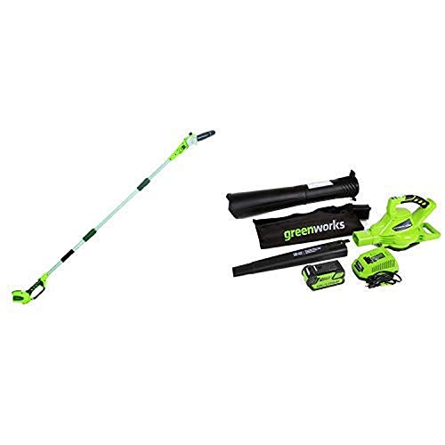Greenworks 8' 40V Cordless Pole Saw, Battery Not Included 20302 with 40V 185 MPH Variable Speed Cordless Blower Vacuum, 4.0 AH Battery Included 24322