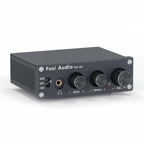 Fosi Audio Q4 - Mini DAC et amplificateur stéréo pour Jeux, USB/Optique/Coaxial vers Aux RCA, Adaptateur convertisseur Audio numérique/analogique, pour Haut-parleurs Actifs, etc.