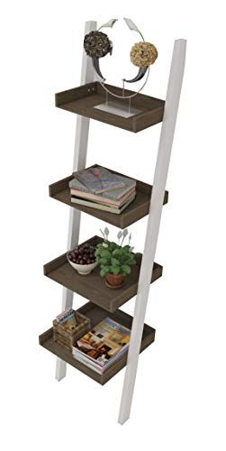 4 Tier Bookcase white Ladder Shelf Unit Display Shelves Storage Shelving Leaning Ladder Bookshelf in White Body & Natural Color. Sturdy, Modern & Multi Use for any Rooms Indoor by Amayo Home