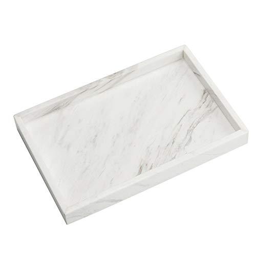 StonePlus Natürlicher Marmor-Aufbewahrungsbehälter, Kosmetik, Schmucktablett, Küchen-Organizer, Couchtisch Tablett (Volakas Weiß, glänzende Oberfläche, 11,8 L x 7,87 B x 1,18 H)