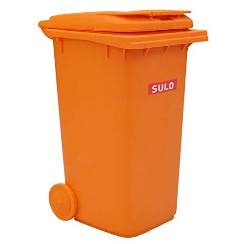 Original SULO Mini-Mülltonne Orange SONDEREDITION, verkleinerte Ausführung der MGB 240 Liter, Miniaturbehälter Tischmülleimer Stiftehalter Büro Spielzeug Sammlerstück