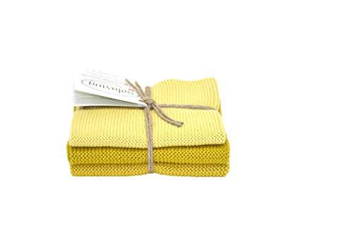 Solwang Putzlappen 3er Set, gestrickte Wischtücher aus Baumwolle (Safran Kombi)