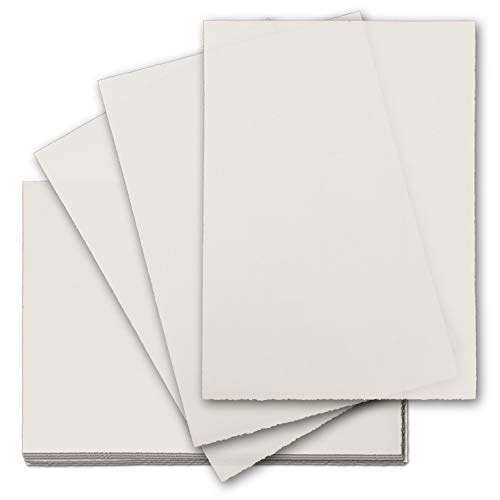Zerkall Bütten - echtes Bütten-Papier DIN A4-50 Blatt Brief-Papier - ohne Wasserzeichen - Vintage-Papier handgemacht, 210 x 297 mm, Naturweiß