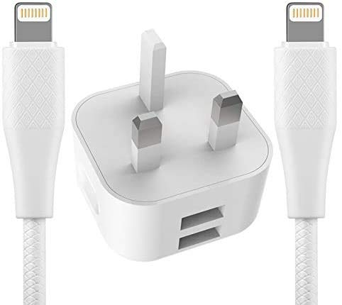 BSTOEM One Iphone Charger Plug And Two Iphone Cable 2M 2 Ports 2.4A Multi USB Charger Compatible With IPad IPhone Max/X/XR/X/11/8/7/6/6s Plus/SE/5c