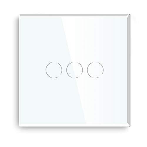 BSEED interruptor luz pared 3 Gang 2 Way interruptor tactil pared blanco interruptores de luz pared con pantalla táctil de vidrio