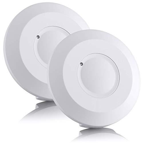 SEBSON® Bewegungsmelder Innen Aufputz - 2er Set - HF Sensor LED geeignet, Decken Montage programmierbar, Bewegungssensor 2-16m/ 360°, 3-Draht