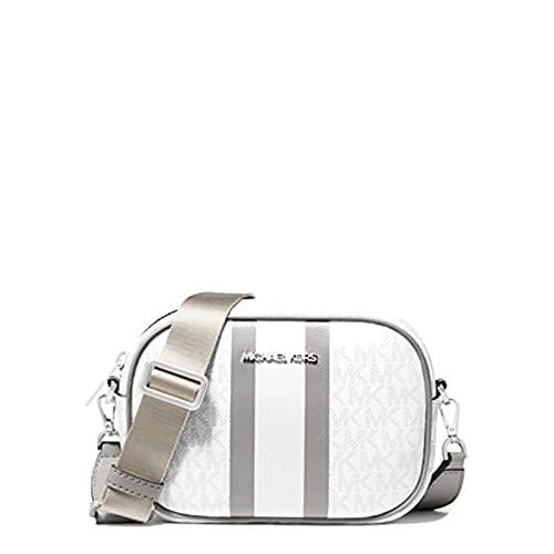 "Crossbody bag Logo-print canvas 89.4% coated canvas/9.6% polyester/1% polyurethane Silver-tone hardware 7.5""W X 5""H X 2.5""D Adjustable strap: 14""-26"" Exterior details: back slip pocket Interior details: back slip pocket, 3 front card slots Lining: 10..."