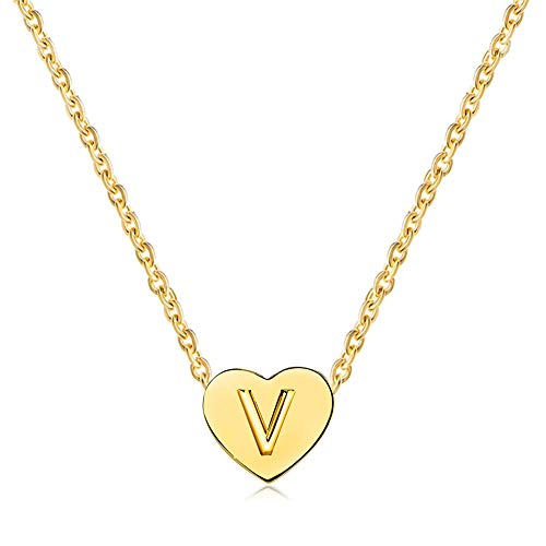 MiniJewelry Women Gilrs 26 Letter Initial Choker Necklace Gold Tiny Love Heart Christmas Daughter Sister Family