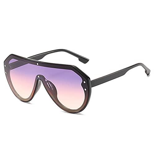 LQG Nuevo diseño de la Marca de la Marca Oversized Flat Top Style Sunglasses Sunglasses 2021 Compras Autopuerno Driving Gafas de Sol para Mujeres,Púrpura