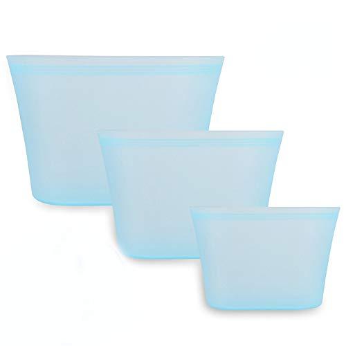 3 Piezas Bolsa de Comida Silicona, Bolsas Reutilizables de Silicona, para Frutas, Verduras, Sin BPA, Prueba Fugas, Seguro Usar en lavavajillas, microondas